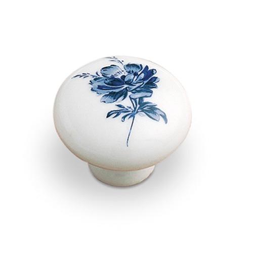 Tiradores mueble pomo porcelana 9682 flor azul - Tiradores de porcelana ...