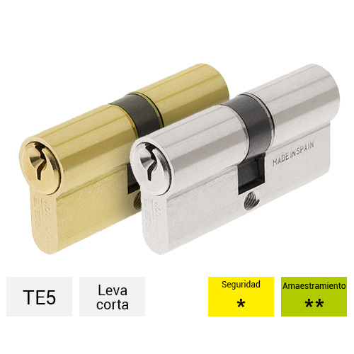 520B3010N TE5 30 x 10 mm Llave Leva Corta Niquelado Tesa Assa Abloy Cilindro Est/ándar Bot/ón